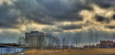 Storm clouds over the urban wasteland