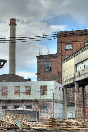 abandoned factory: The courtyard of an old abandoned factory