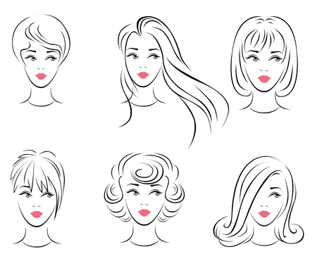 cartoon hairdresser: Illustration of the six options for women s hairstyles