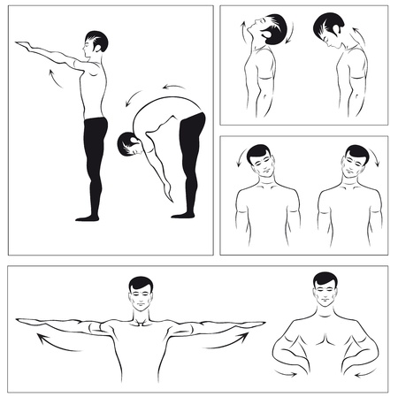set of physical exercises to relax the spine