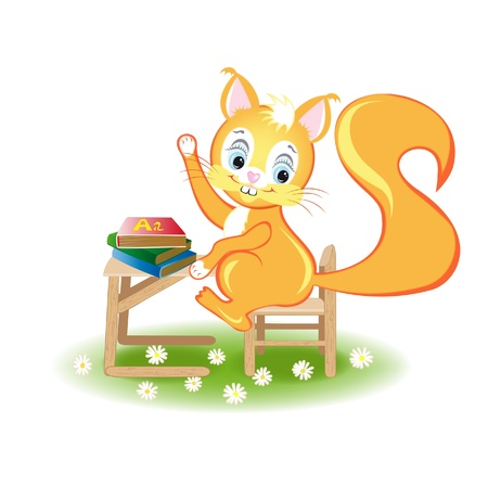 Illustration of squirrels, which sits in class at his desk and pulls his hand