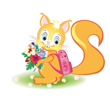 Squirrel goes to school with a backpack on his back and a bouquet of flowers  Illustration