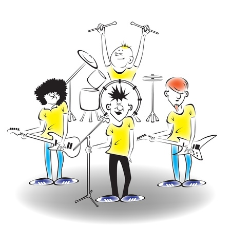 A band on stage Stock Vector - 14837831