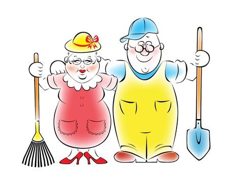 pensionado: Ilustración de una pareja de ancianos que aman la jardinería y huerta Vectores