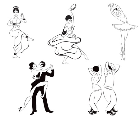 Illustration of five dance styles  Indian dance, gypsy dance, ballet, tango, street dance
