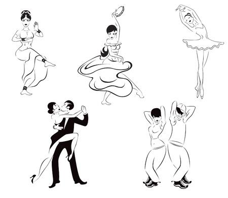 Illustration of five dance styles  Indian dance, gypsy dance, ballet, tango, street dance Stock Vector - 14837829