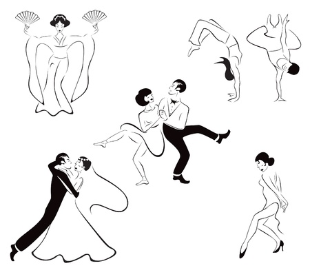 Illustration de cinq styles de danse