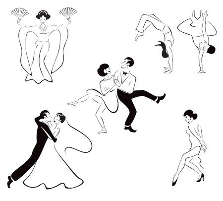 Illustratie van vijf dansstijlen