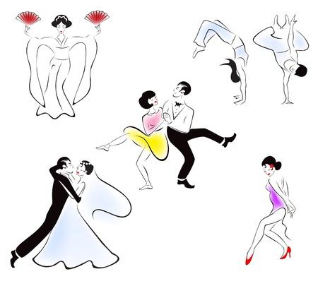 jazz dancer: Illustration of five dance styles