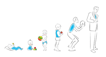 Stages of maturation man  from infancy to maturity  Illustration