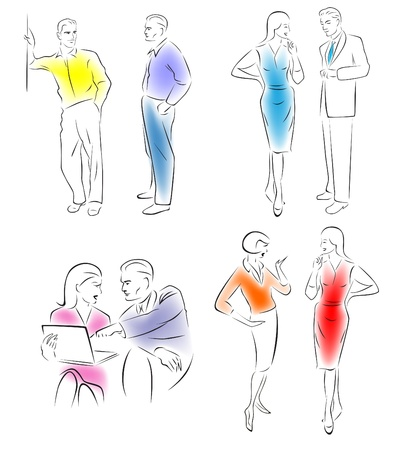 Illustration conversing characters  Four pairs of men and women talking