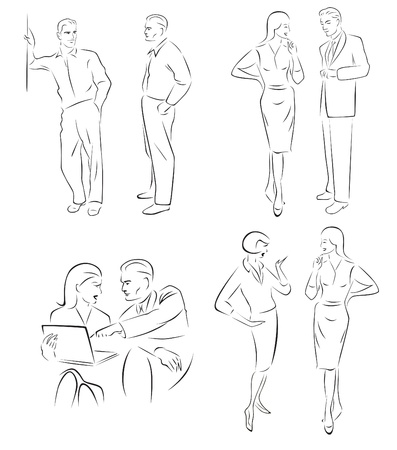 Illustration conversing characters  Four pairs of men and women talking  Vector