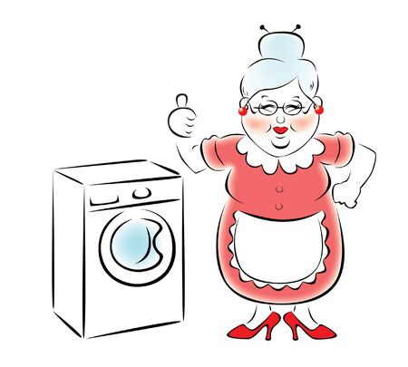 bought: My grandmother bought a new washing machine. Illustration
