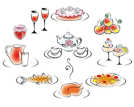 Delicious food and drink  pizza, cake, chicken, fish, apples, jams, ice cream, milk, tea, wine  Stock Vector - 17719492
