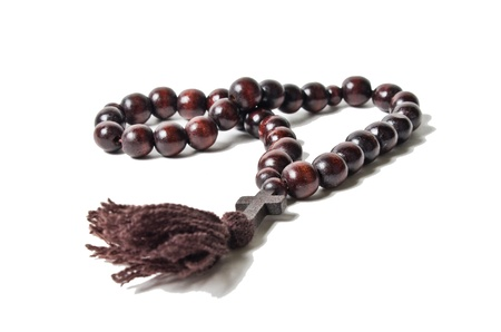 Wooden rosary with a cross
