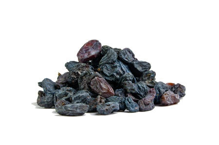 Blue medical raisins on a white background  Stock Photo
