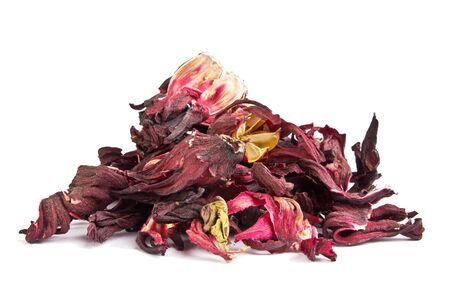 Dried hibiscus leaves on a white background Stock Photo