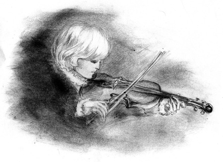 rn: Boy playing the violin in an 18th century - Illustration