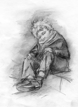 pobreza: Imagen sin hogar niño dormido. Dibujo a lápiz. Foto de archivo