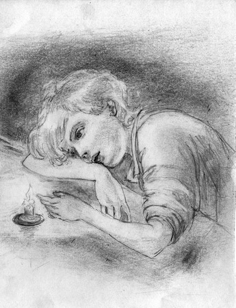 Pencil drawing of a pensive boy who sits at the table and looks at the candle flame. Stock Photo