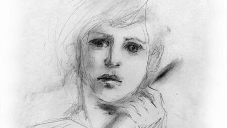 19th century style: Portrait of a boy, drawn in pencil Stock Photo