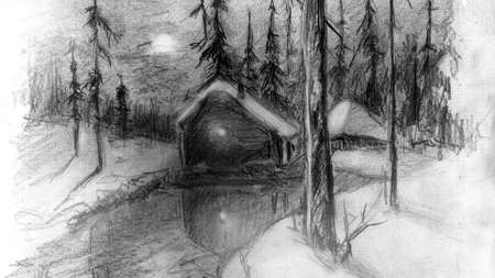 eye closeup: The winter landscape. House in the woods. Winter. Evening.Image of a human eye close-up. Pencil drawing.