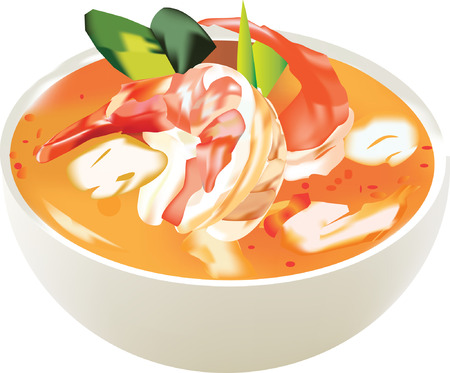 Thai food Tom Yum Kung on bowl with chilies Illustration