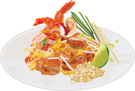 Pad thai Noodles with Shrimps 向量圖像