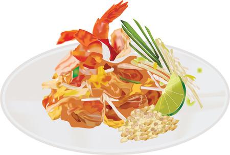 Pad thai Noodles with Shrimps Illustration