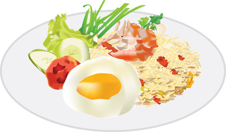 rice plate: Thai food Fried Rice with Egg and Shrimp