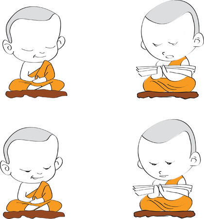 set cartoon thai budnist monk is prayer Vector