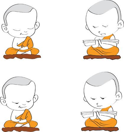 introspection: set cartoon thai budnist monk is prayer