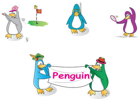 set penguin cartoon sport club isolated on white Vector