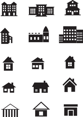 structuring: homes and buildings icons set Illustration