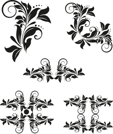 creeping: elements of silhouette floral tatoo black & white