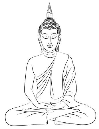 thai buddha: thai buda sentado Esquema y siluetas de negro y blanco Vectores