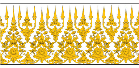 asian art: Asian Art Background Thai art pattern flower vector