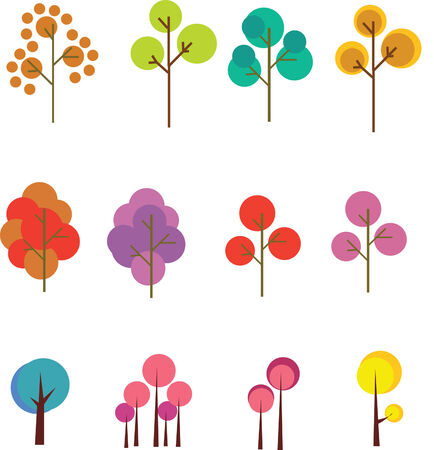 haulm: graphic set of abstract trees Inspiration Colletion of colorful