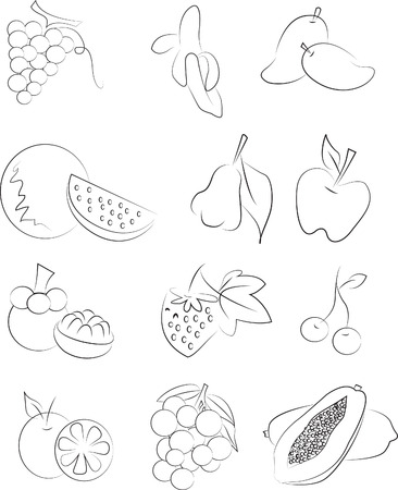 categories: thai fruit vector set drawing icon black and white Illustration