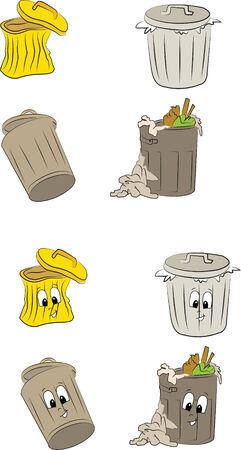 wastrel: trash bin in doodle style color Illustration