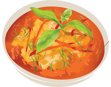 thai herb: panang pork curry thai food Illustration