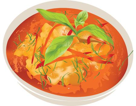 panang pork curry thai food Illustration