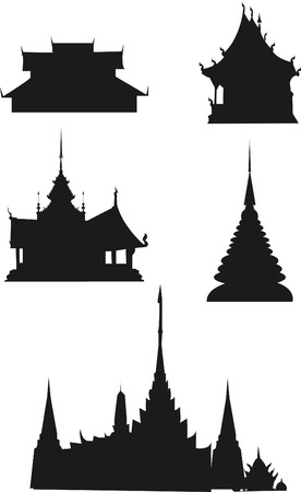 buddhist structures: Pagoda and temple thai silhouette black icon. Illustration