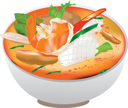 yam: thai food tom yam seafood Illustration