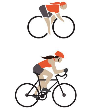 silhouettes bicyclist sport vector