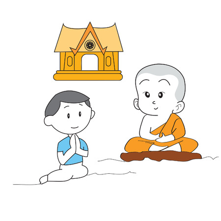 buda: buda monk thai cartoon