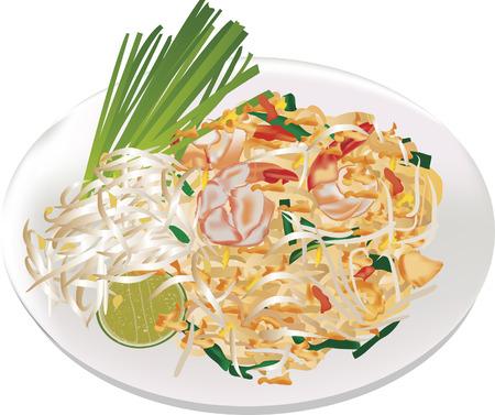 thai cuisine food pad thai Stock Vector - 35145104