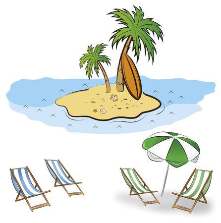 chair cartoon: beach summer vector