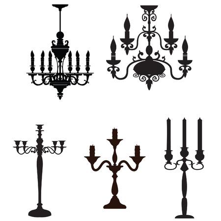 antique furniture: silhouettes of furniture Antique decorative candlestick collection Illustration