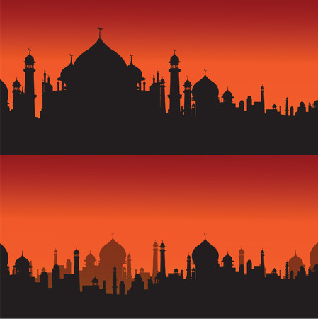 biography: mosque religious silhouette vector Illustration